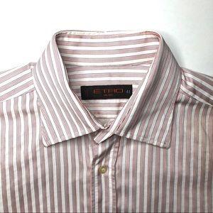 Etro Red Stripe Button Up Dress Shirt